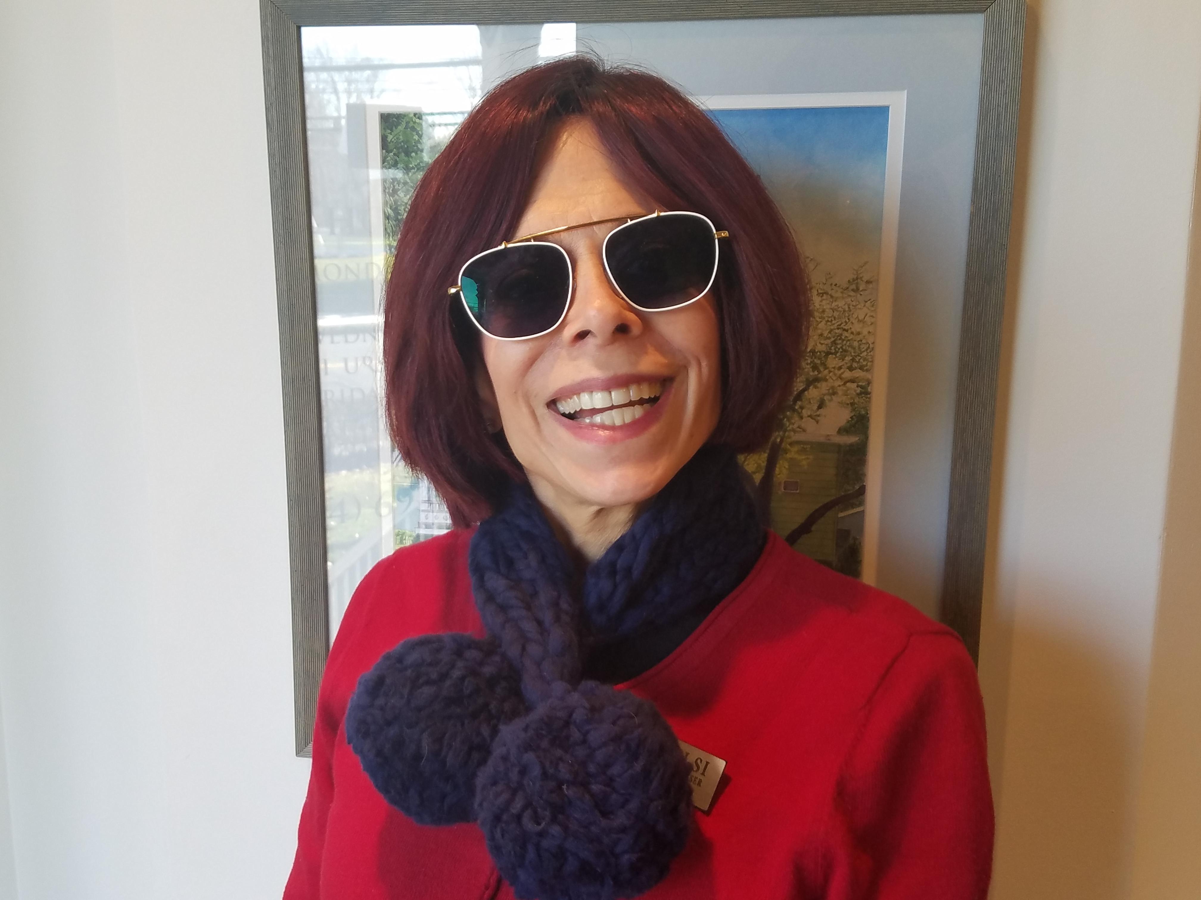 Teresa wearing Toms